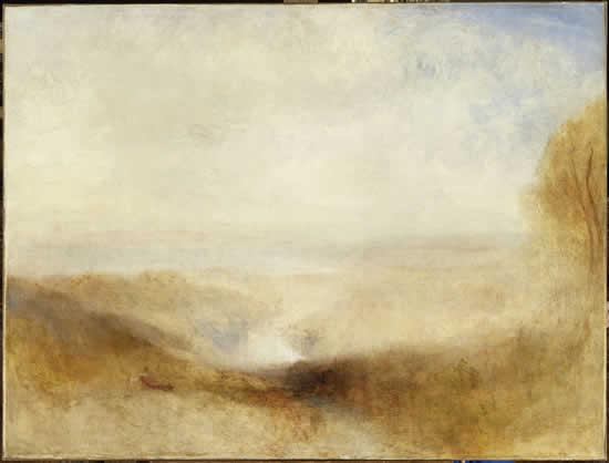 Paysage avec une rivière et une baie dans le lointain (J.M William Turner)